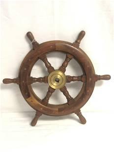 18'' Vtg Wooden Ship Wheel