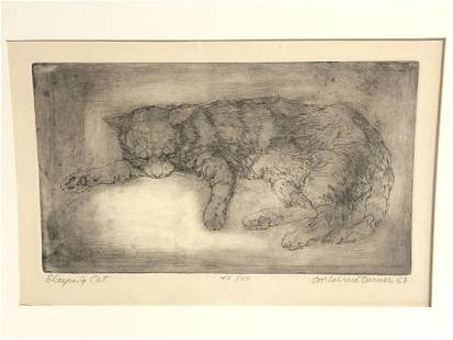 (1929-1997)Don Laviere Turner Cat Etching - Pencil