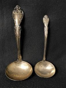 2 Gorham Sterling Silver Ladles, 103.5g - 'Melrose'