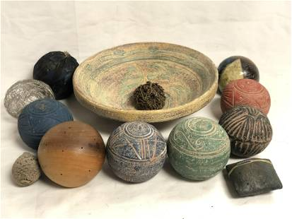 Asst Clay, Wooden, Feather Ball Decors