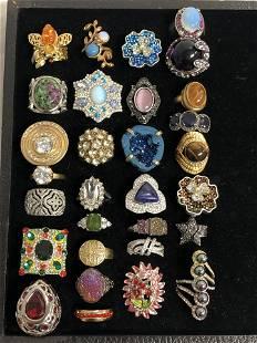 30 Asst Fashion Rings w/ Various Stones - Sz 7 / 8,