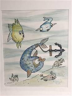 Signed 'Reskin' Mixed Media Art 'Under Ocean' - Framed