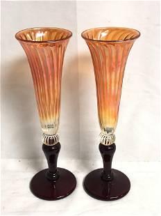 Pr Signed R.Strini Opalescent Flutes - 10'' Tall