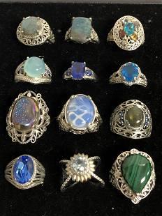 (12)Asst KARIS Rings w/ Various Gemstones - Topaz,