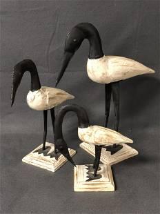 3pc Wood / Metal Bird Figures - 8'' + 12'' 15'' Tall