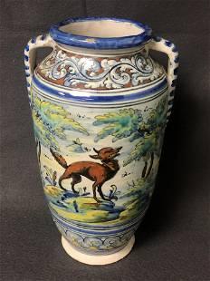 Antique Talavera Pottery Vase w/ Handles - 10.5'' Tall