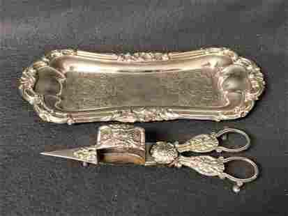 Antique Sheffield Tray, Candle Snuffer Scissor - Tray