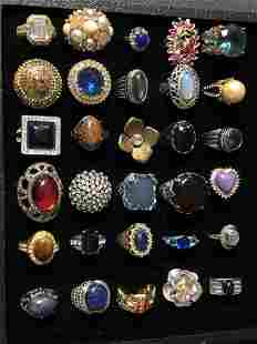 (30)Asst Fashion Rings, Various Stones - Sz 7 /8