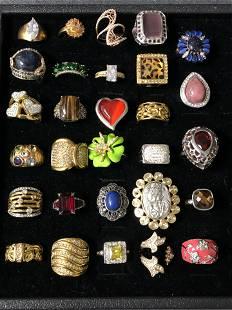 (30)Asst Fashion Rings w/ Various Stones - Sz 7 / 8