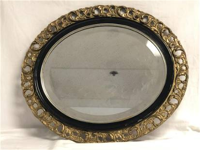 Beveled Wall Mirror in Wooden Frame, 23'' x 27''