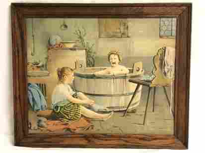 Vtg ''The Morning Bath'' Print - Wood Framed 23'' x