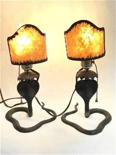 Pr Metal Cobra Lamps w/ Mica Shades, 12''Tall