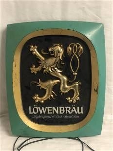 Vtg Lightup Lowenbrau Sign, 14'' x 17.5'' - Needs Cord