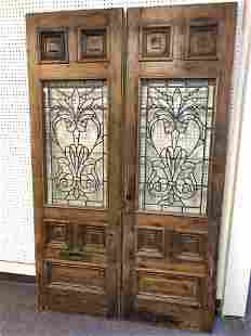 (2)Antique Doors w/ Stain Glass,Mail Slot - Brass Mail