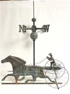 Vtg Copper Horse & Jockey Weathervane - Horse, Jockey