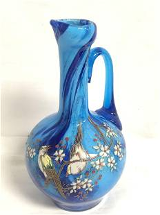 Victorian Handpainted Enamel Glass Pitcher - 7.5'' Tall