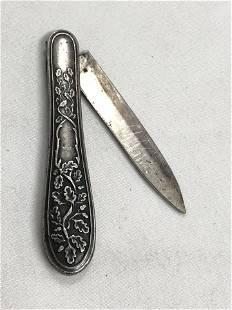 Albert Coles Coin Silver Folding Knife - Hallmarked,