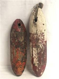 (2)Vtg Nautical Wooden Fishing Buoys - 18'' + 15''