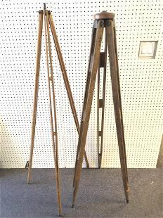 (2)Atq / Vtg Wooden Tripods - 57'' Tall w/ Brass &