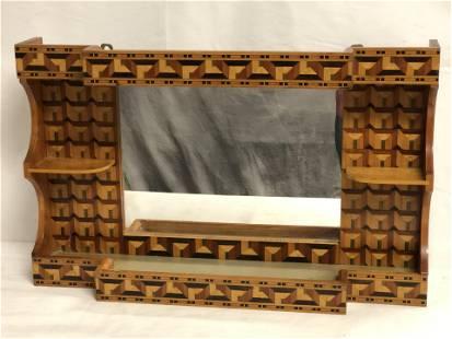 Inlaid Wooden Shelf w/ Mirror, 24''x5''x15''