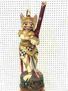 Handcarved & Painted Thailand Statue w/ Sword - 33''