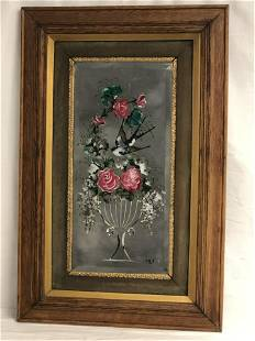 Atq Reverse Painted Beveled Gypsy Mirror - Period Frame
