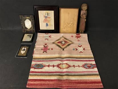 Misc Folk Art, Carved Figure, Art Tapestry