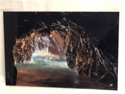 Signed Photo on Metal of Ocean Cave - Signed 'Jeff' -