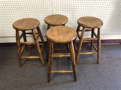 (4)Vtg Wooden Stools, 14'' x 14'' x 24'' - Pick Up or