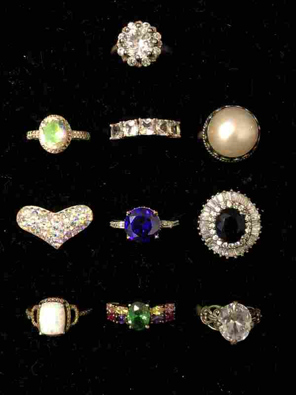 10 Sterling Silver Rings w/ Various Stones - Sz 7 / 8,