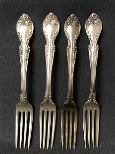 4 Sterling Silver Gorham Forks, 242g - 'Melrose'