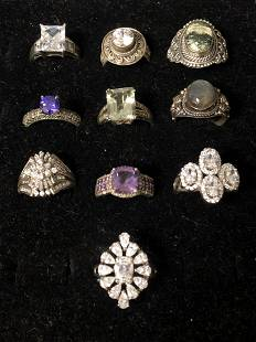 10 Sterling Silver Rings w/ Various Stones - Sz 7 /8,