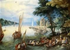 Brueghel In der Art von Vielfigurige Hafenszene