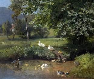 Jutz d. ae., Carl: Enten am Ufer
