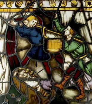Glasmaler des 19. Jh.: Das Manna Wunder (Traeger)