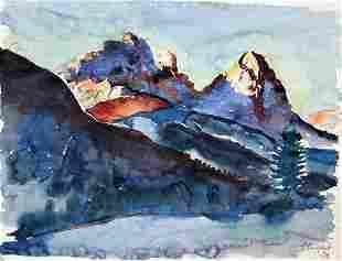 Expressionist der 20er Jahre: Abend in den Alpen