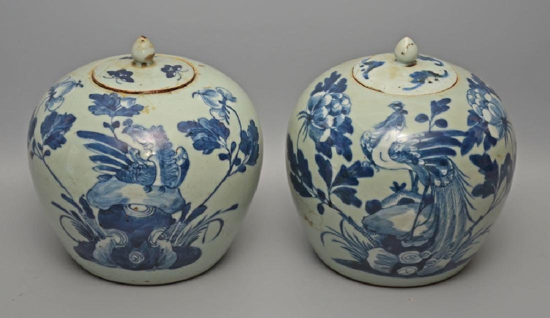 Pair of Antique Chinese Ginger Porcelain Jars