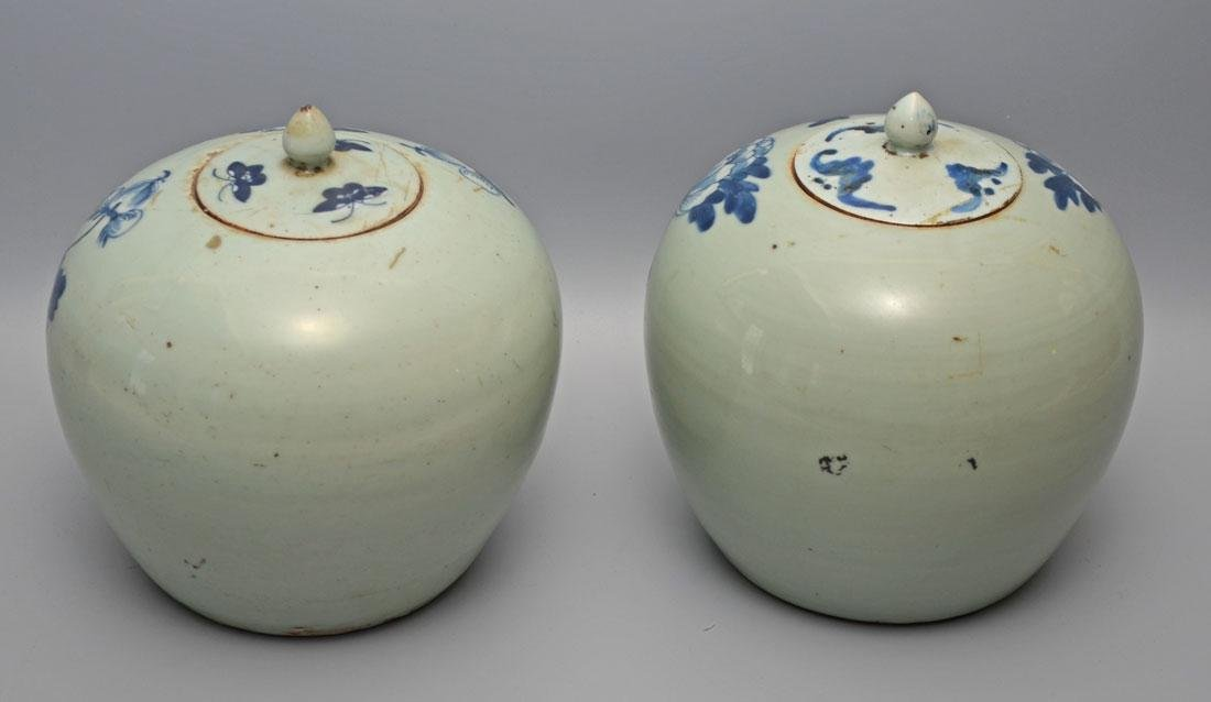 Pair of Antique Chinese Ginger Porcelain Jars - 2