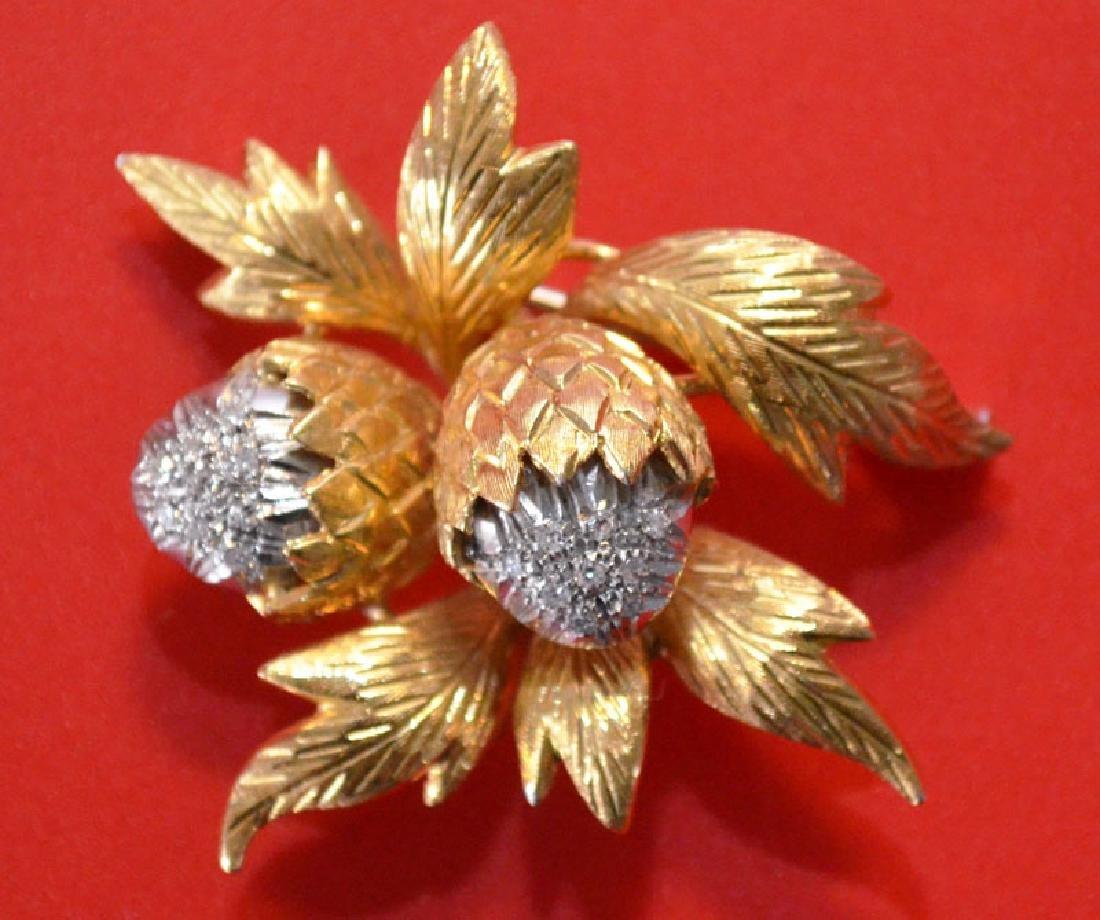 18k Gold & Diamond Acorn Pin