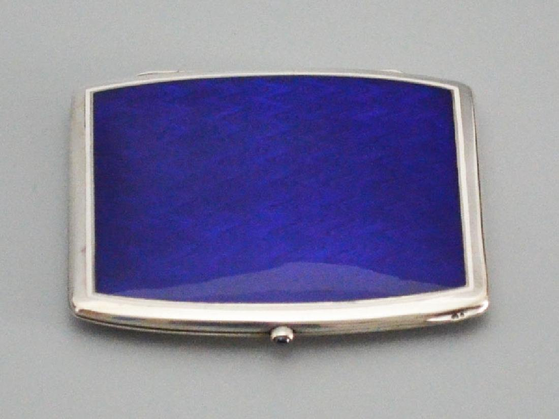 Swedish Enamel & Sterling Cigarette Case