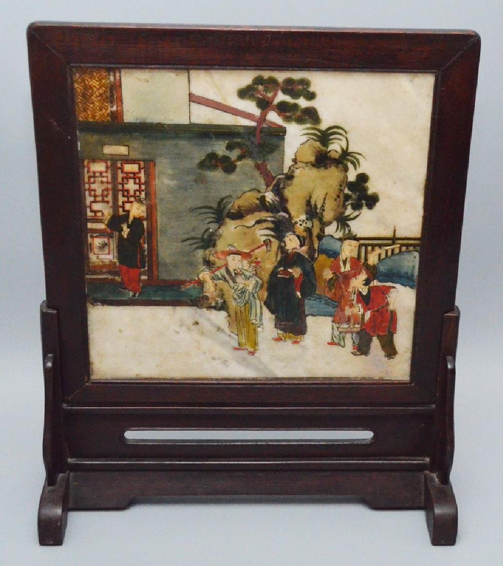 Carved & Painted Chinese Screen w/ Poem