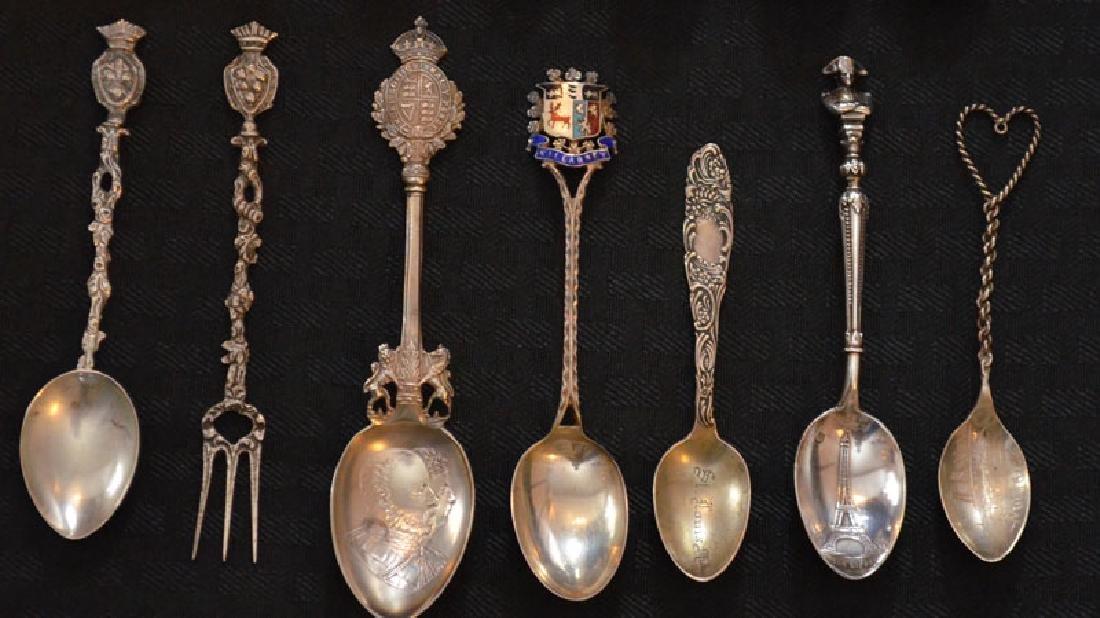 14 Sterling & Plate Souvenir Spoons - 3