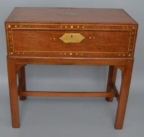 Brass Inlaid Lap Desk On Stand