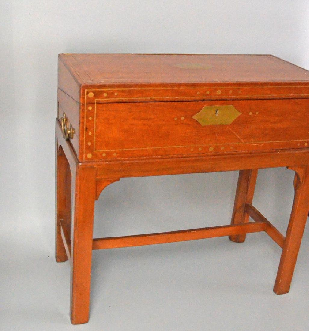 Brass Inlaid Lap Desk On Stand - 2