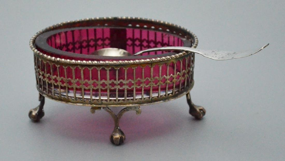 Pr Of English Sterling Silver Salts With Inserts - 3