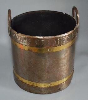 Antique Steel & Brass DAWS Salt Ash Creamery Bucket