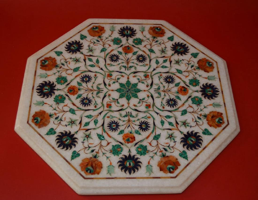 Pietra Dura  Style Inlaid Marble Table Top