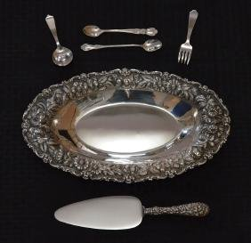 Sterling Silver Repousse Bowl And Accessories