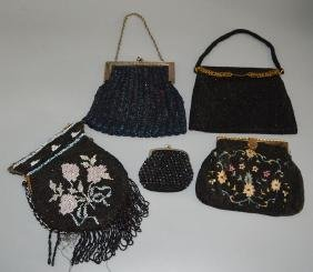 Lot of Vintage Black Beaded Evening Bags / Purses