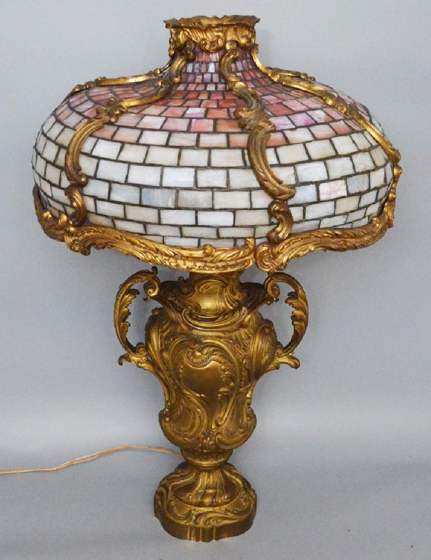 French Bronze Leaded Glass Table Lamp